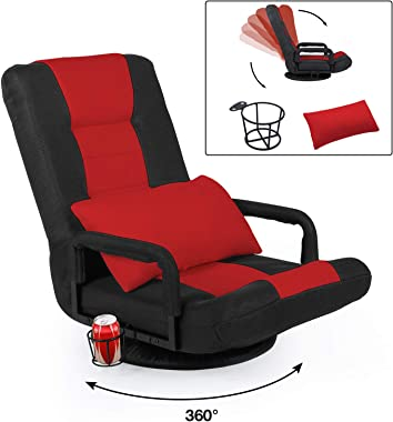 STHOUYN 360-Degree Swivel Gaming Recliner Floor Chair Video Game Chair Armrest, Comfy 6-Position Foldable Adjustable Backrest Red and Black (Red)