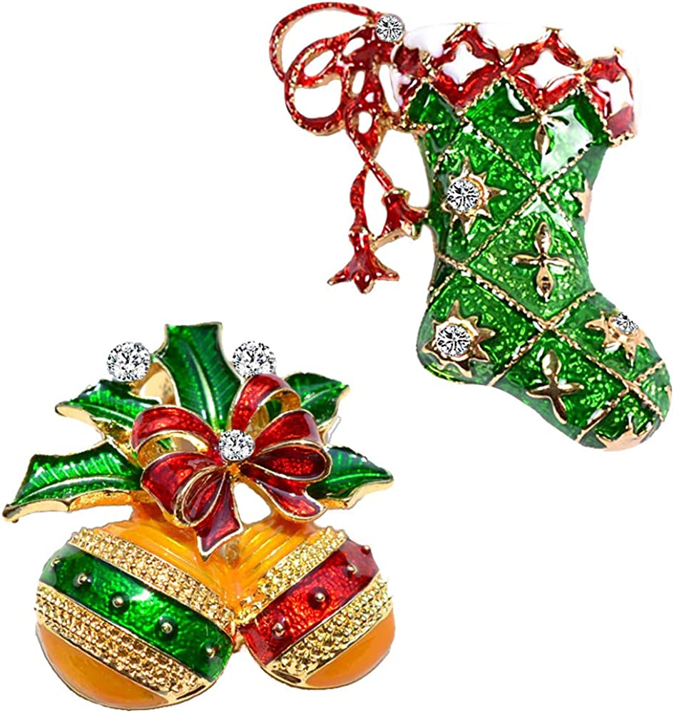 Max 47% OFF ETHOON 2Pcs Christmas Brooch Pins Holiday Chris Set All stores are sold Bells