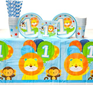One is Fun! Boy Birthday Party Decorations Party Supplies Pack: Straws, Dessert Plates, Beverage Napkins, Tablecover and Cups