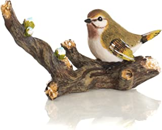 Delton Products 6.7 inches x 3.6 inches Resin Green Bird on Branch Collectible Figurine