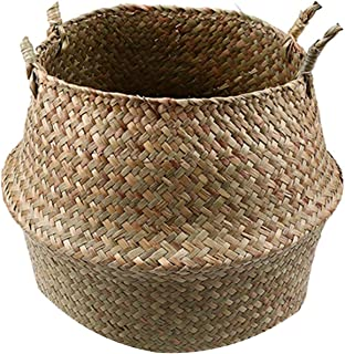 Small-Dream-Shop Seagrass Storage Basket Flower Pot Natural Rattan Basket Plant Pot Toys Holder Laundry Basket Container Home Decoration,Model 1,22x20 cm