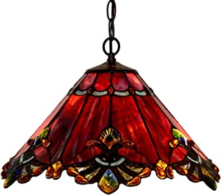 Bieye L10059 Baroque Tiffany Style Stained Glass Ceiling Pendant Fixture with 17 Inch Wide Handmade Shade (Red)