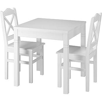 Erst Holz® Weiße Essgruppe mit Tisch und 2 Stühle Kiefer Massivholz 90.70 50 B W Set 20