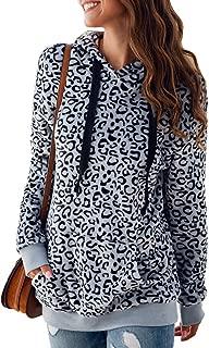 Women's Long Sleeve Leopard Print Sweatshirt Fuzzy Sherpa Fleece Drawstring Hoodies Pullover Tops with Pockets