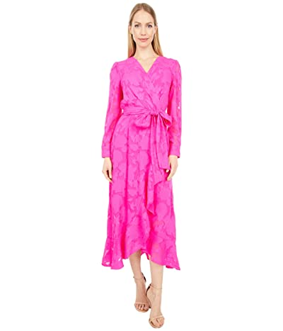 Tahari by ASL Chiffon Textured Burnout Long Sleeve Dress with Side Tie (Shocking Pink) Women