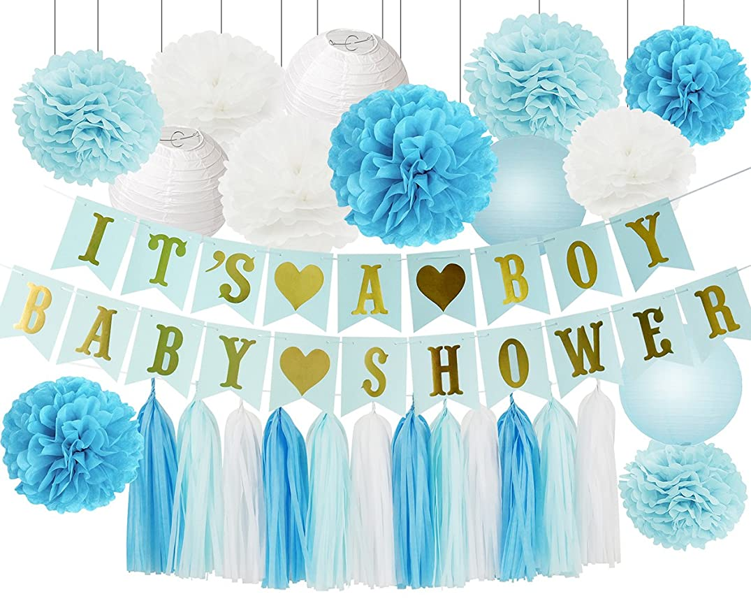 Baby Shower Decorations for Boy IT'S A BOY BABY SHOWER Banner with Baby Blue White Turquoise Tissue Paper Pom Poms Flowers and Paper Lanterns Tissue Paper Tassel for Boy Baby Shower Decorations