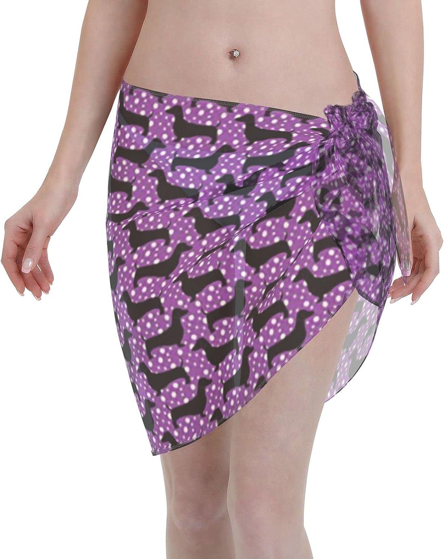 FSERSANHW sale Dachshunds Purple Chiffon Beach Sarong Short Women Cov Ultra-Cheap Deals