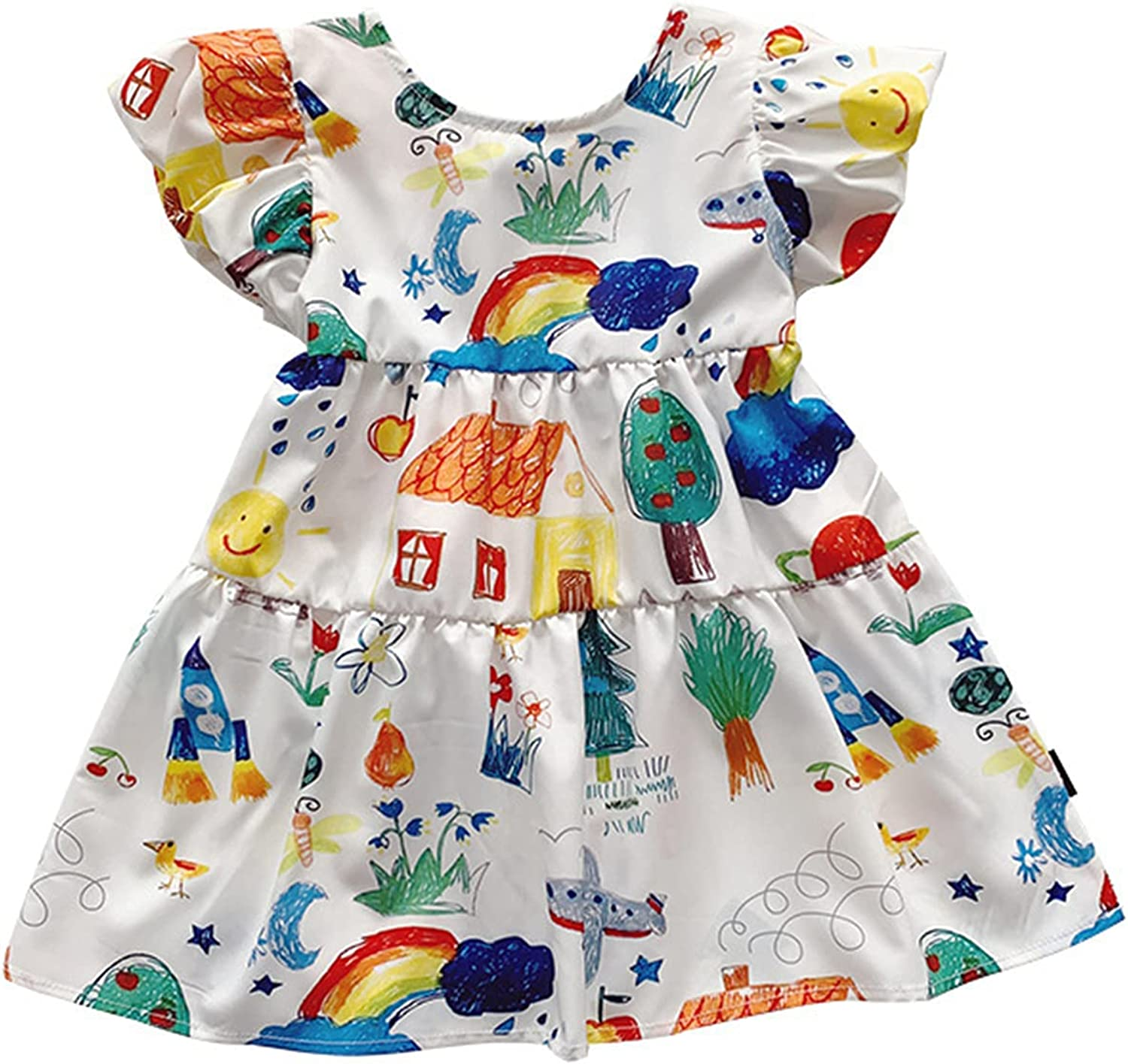 ASMFUOY Little Baby Girls Baby Summer Puff Sleeve Dress