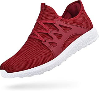 Feetmat Womens Sneakers Ultra Lightweight Breathable Mesh Athletic Walking Running Shoes Multicolor Size: 9 Red/White