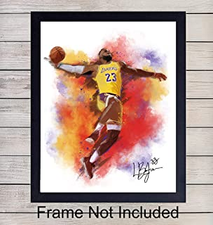 Lebron James Basketball Watercolor Wall Art Print - Unframed Photo - Great African American Home Decor or Gift For Art Lovers - Ready to Frame (8X10) Photo
