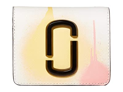 Marc Jacobs Snapshot Spray Paint Mini Compact Wallet (White Multi) Wallet Handbags