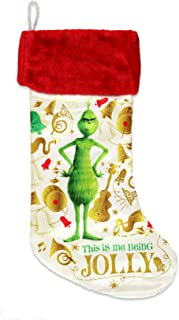 Kurt Adler The Grinch Printed Stocking with Red Cuff Home Decor