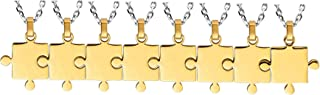 Best Friend Couples Puzzle Necklace 2/3/4/5/6/7/8 Piece Silver/Black/Gold Tone - Stainless Steel