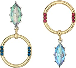 Betsey Johnson - Stone and Hoop Non-Matching Earrings