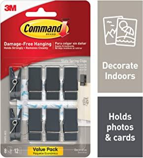 Command Spring Clips, 3 hooks, 4 strips, Decorate Damage-Free (17089S-8ES)