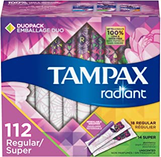 Tampax Radiant Plastic Tampons, Regular/Super Absorbency Duopack, 112 Count, Unscented (28 Count, Pack of 4-112 Count Total)