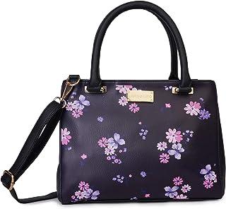 Lapis O Lupo Women Fashion Flower Print 3 Compartment Top Handel Zip Clouser Leatherette Adjustable Sling Handbag