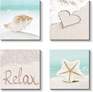 Beach Wall Art Canvas Artwork: Coastal Sand Painting Seashell and Starfish Picture Print for Bathroom (12'' x 12'' x 4 Panels)