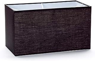 Pantalla de tela E27 rectangular, 32 x 16 cm, pantalla de tela, lámpara de mesa, lámpara de pie, rectangular, pantalla de tela, color negro