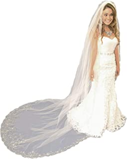 Wedding Veils with Heavily Beaded Embroidery Pearls Sequins Rhinestones veil for brides VL-1029