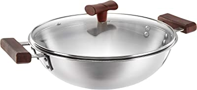 Amazon Brand - Solimo Triply Kadhai with Lid, 22cm, Stainless Steel, Silver