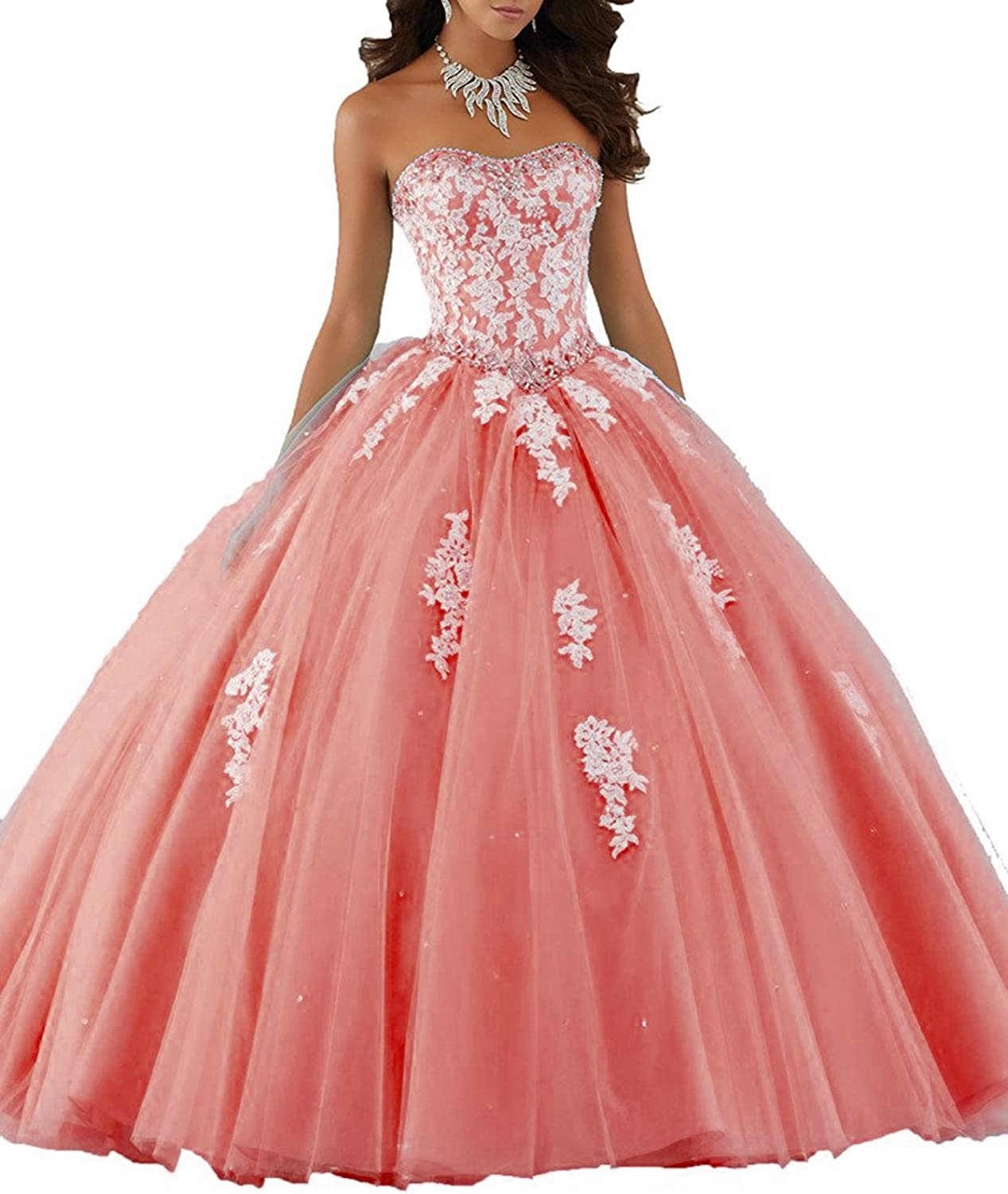 HSDJ Women's Appliques Sweet 16 Ball Gowns Long Beaded Quinceanera Dresses