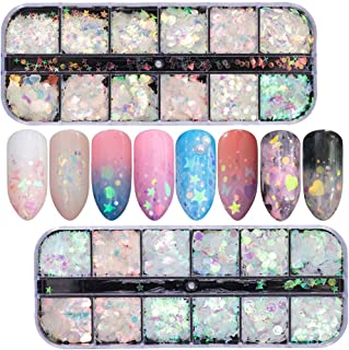 Comdoit Holographic Nail Sequins Iridescent Mermaid Nail Flakes Colorful Glitter Nail Art Stickers Laser Butterfly Star Heart Round Shapes Designs Manicure Tips DIY Decals Decorations (2 Boxes)