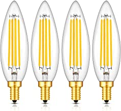 OMAYKEY 8W LED Candelabra Bulb 80W Equivalent 3000K Soft White 800 Lumens Dimmable, E12 Base Vintage Edison Style LED Chandelier Light Bulbs, C35 Lengthened Candle Clear Glass Light Bulbs, Pack of 4