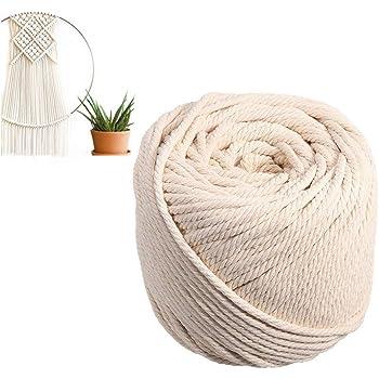 TOPWA - Cordón de macramé de algodón para manualidades, cuerda rústica, cuerda de algodón y yute para colgar en la pared, colgadores de plantas, manualidades, tejer, proyectos decorativos, 4 mm: Amazon.es: Hogar