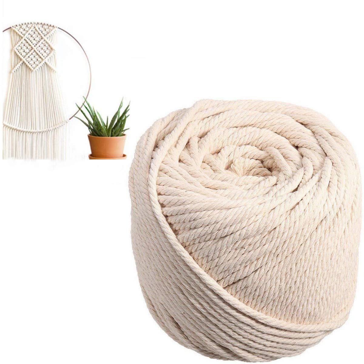 TOPWA - Cuerda de algodón para macramé o macramé de 4 mm, cuerda de algodón rústica, cuerda
