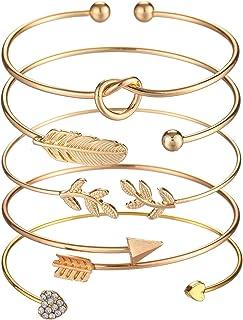 SOFTONES 5pcs Bangle Rose Gold Bracelets for Women Girls Heart Olive Leaf Arrow Feather Knot Heart Open Cuff Bracelet Set ...