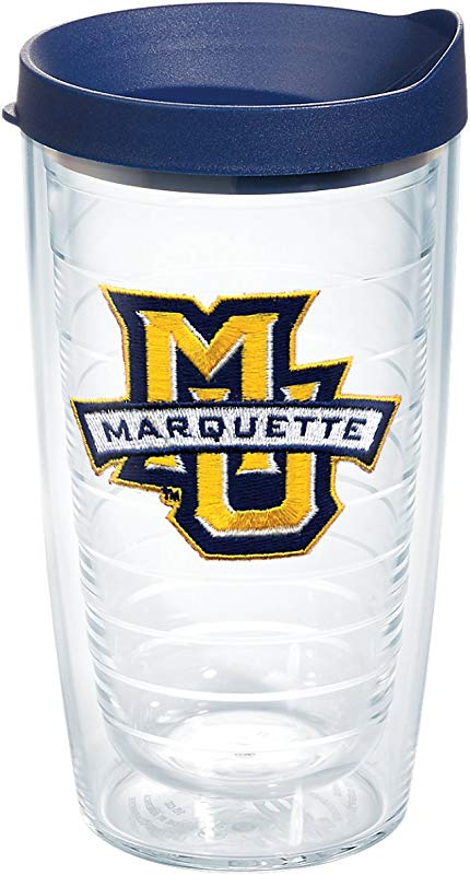 Tervis 1061211 Marquette University Emblem Individual Tumbler With Navy Lid 16 Oz Clear