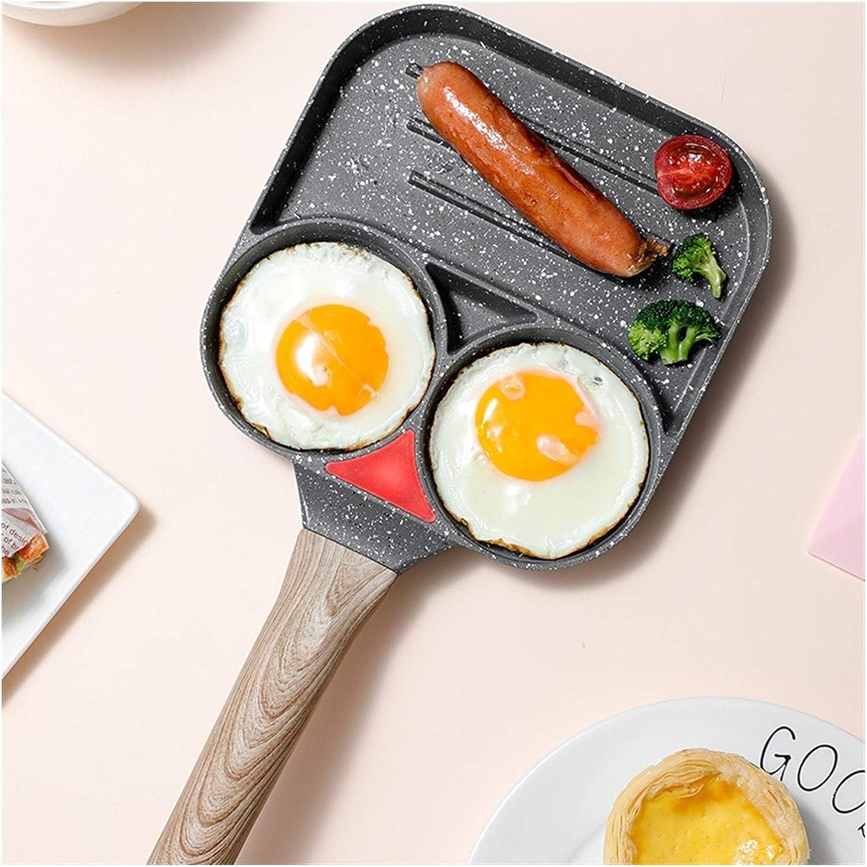 Miaoao Egg Breakfast Pan, 3 Section antiadhésives Egg Frying Pan, Burger œufs Ham Pancake Maker POELES Creative Aucune Huile fumée Petit déjeuner Grill Wok Marmite (Color : A) B