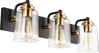 SOLFART Black Vintage Bathroom Vanity Light Fixtures Over Mirror Glass Globe Wall Lamp Sconce S8580 3 Lights