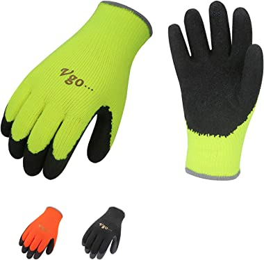 Vgo 3Pairs Foam Latex Coated Gardening and Work Gloves (Size L, Black, High-Vis Orange & Green, RB6010)