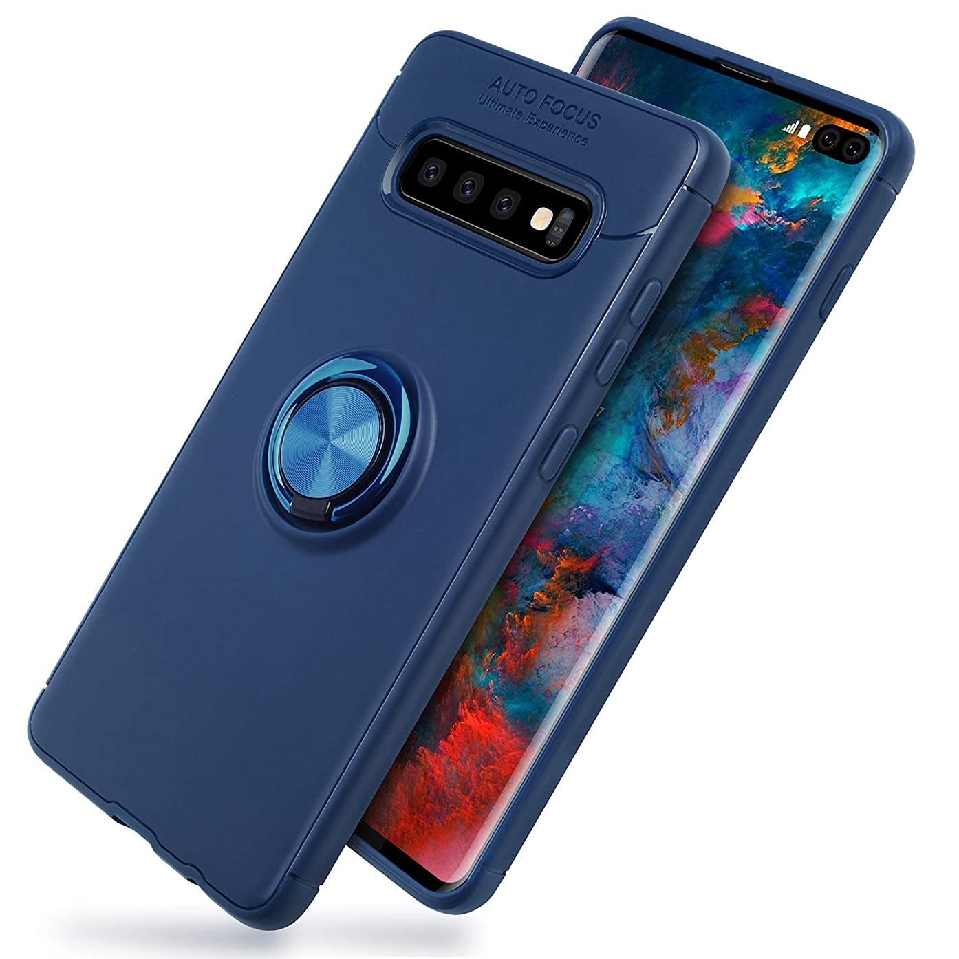 Galaxy S10 Case,SQMCase Heavy Duty Durable Soft TPU Protective Case with 360 Degree Rotation Ring Kickstand [Work with Magnetic Car Mount] for Galaxy S10,Blue