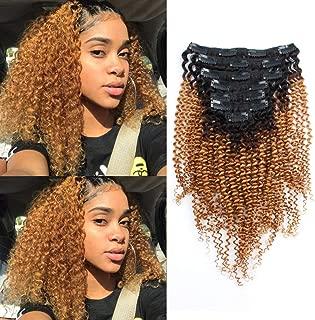 Lovrio Ombre Clip Ins Kinkys Curly Hair Extensions Brazilian Virgin Human Hair Tone Natural Black Fading into Caramel Blonde Color 7 Pieces 120g KCTN/27 16