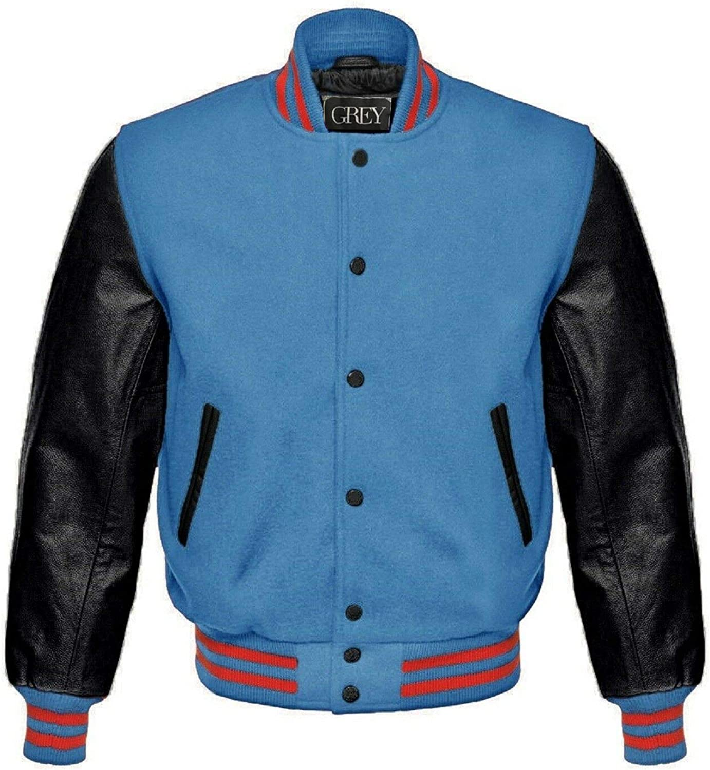 GREY Brand Varsity Jacket, Wool Body with Leather Arms Letterman Baseball Unique & Stylish (7XL) (XS, Royal Blue-White/Red Strips) (M, Sky-Black)