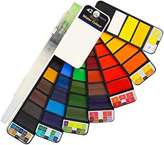 Watercolor Paint Set, 42 Assorted Colors, Professional Artist Travel Mini Portable Pocket Watercolor Field Sketch Set with 1 Water Brushes, Christmas Gift for Artist, Kids & Adults