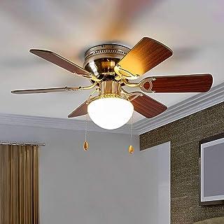 Ventilador de techo con lámpara 'Flavio' (Moderno) en Marrón hecho de Madera e.o. para Salón & Comedor (1 llama, E27, A++) de Lindby | Ventilador