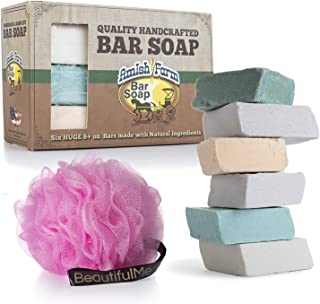 Amish Farms Handmade Bar Soap With Natural Ingredients - Cold Pressed, Carcinogen Free, 6 Ounce Bars   6 Bar Box + Luxurious Loofah by BeautifulMe