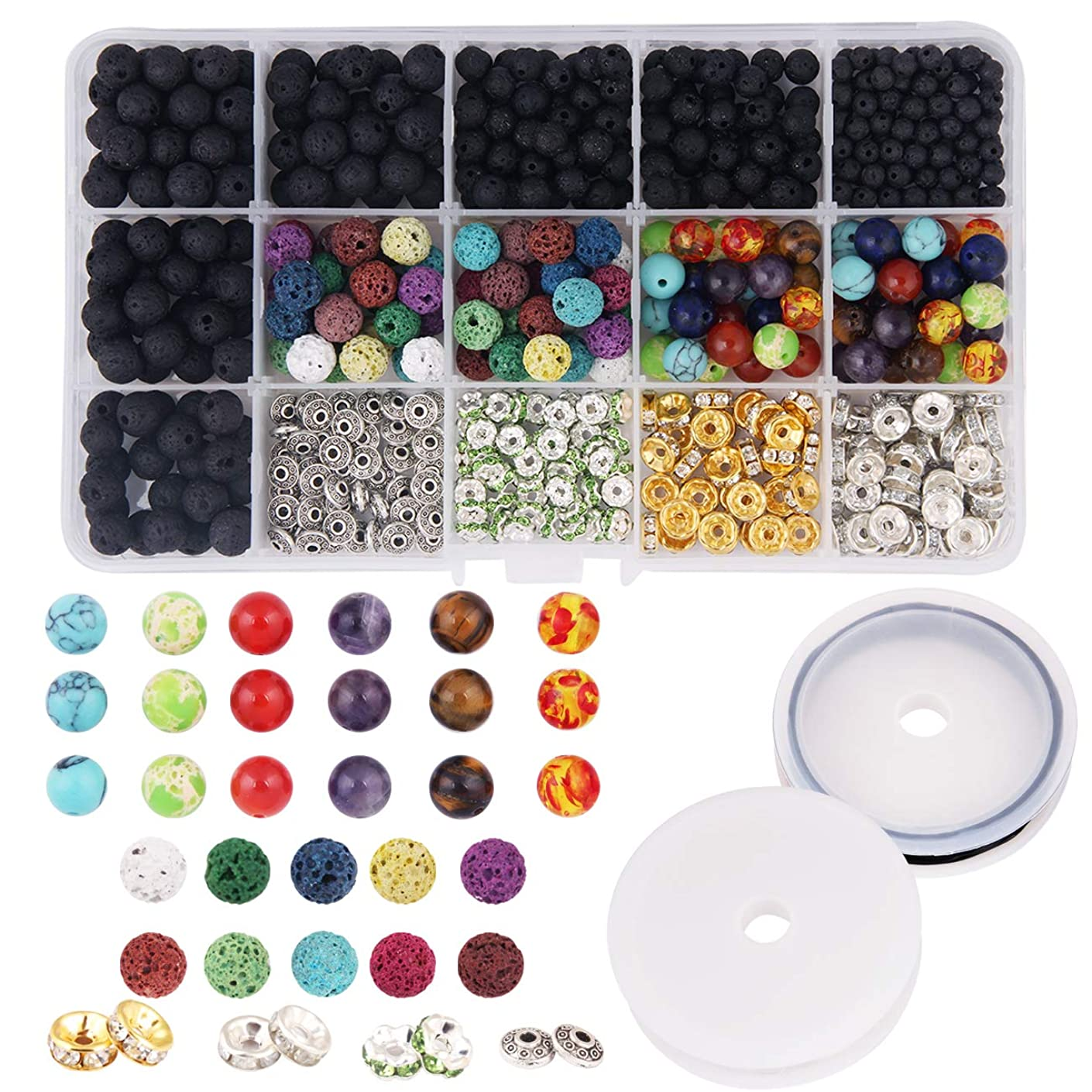 Candygirl 600Pcs DIY Lava Stone Bracelets Necklace Volcanic Rock Beads Kits for DIY Bracelets Necklace with Chakra Beads As Essential Oil (600pcs)