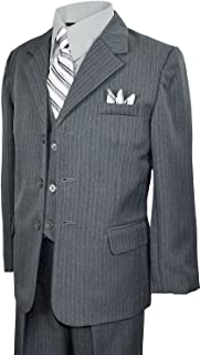 Black n Bianco Boys Pinstripe Suit with Matching Tie Size 2-20 Grey