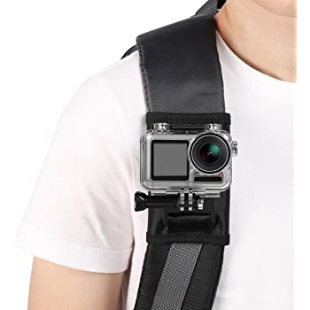 2018 SUREWO Backpack Shoulder Strap Mount Compatible with All GoPro Cameras,GoPro Hero 8//7// //6//5 Black Hero 5//4 Session//Silver,DJI Osmo Action and Most Action Cameras