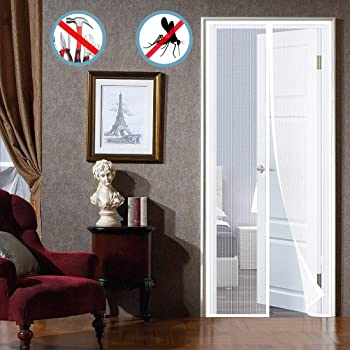 WISKEO Zanzariera Magnetica Finestra Animali Domestici Porte per Balconi Adesivi Nero 90x240cm Velcro Controllo degli Insetti Magneti Portefinestre Punch Gratuito