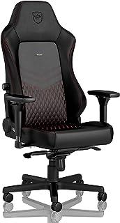 noblechairs Hero Silla de Gaming - Silla de Oficina - Cuero Auténtico - Diseño de Asiento de Carreras - Negro/Rojo