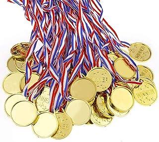 Caydo 100 Pieces Kids Children`s Gold Plastic Winner Award Medals