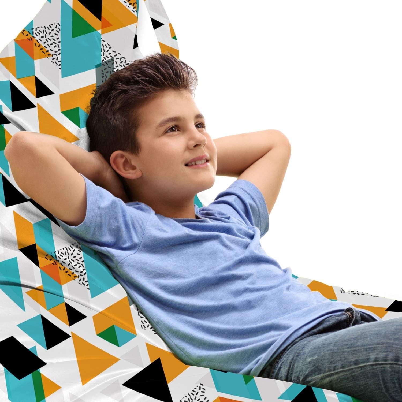 Lunarable Classic Abstract San Francisco Mall Lounger Chair Triangles Geometric Bag Memphi