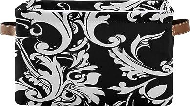 ALALAL Boîte de Rangement décorative rectangulaire Magnifiques paniers décoratifs Noirs en damassé Baroque avec poignée en...