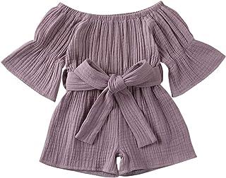 Carolilly Combinaison d'été pour fille avec épaules dénudées et body d'été avec manches longues et ceinture